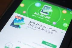 Ryazan, Russland - 19. April 2018 - bewegliche APP Max Cleaners auf der Anzeige des Tablet-PCs lizenzfreies stockbild