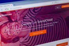 Ryazan, Russland - 16. April 2018 - homepage von SoundCloud-Service an der Anzeige von PC, URL - soundcloud com Lizenzfreies Stockbild
