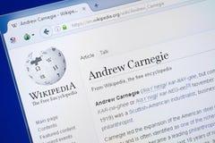 Ryazan, Russland - 19. August 2018: Wikipedia-Seite über Andrew Carnegie auf der Anzeige von PC stockfotografie