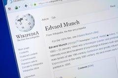 Ryazan, Russland - 19. August 2018: Wikipedia-Seite über Edvard Munch auf der Anzeige von PC stockbilder