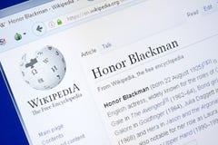 Ryazan, Russland - 28. August 2018: Wikipedia-Seite über Ehre Blackman auf der Anzeige von PC stockfoto