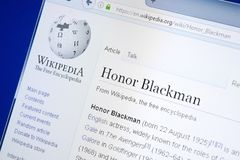 Ryazan, Russland - 28. August 2018: Wikipedia-Seite über Ehre Blackman auf der Anzeige von PC stockfotos