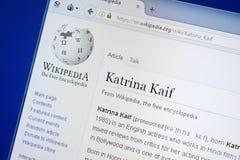 Ryazan, Russland - 19. August 2018: Wikipedia-Seite über Katrina Kaif auf der Anzeige von PC stockfoto