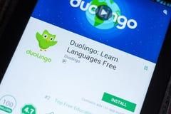 Ryazan, Russland - 3. Juli 2018: Duolingo: Lernen Sie Sprachfreie Mobile-APP auf der Anzeige des Tablet-PCs stockfotografie