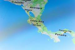 Ryazan, Russland - 8. Juli 2018: Land von Costa Rica auf dem Google- Mapsservice stockfoto