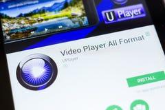 Ryazan, Russland - 24. Juni 2018: Aller Video-Player formatiert bewegliche APP auf der Anzeige des Tablet-PCs stockfoto