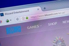 Ryazan, Russland - 5. Juni 2018: Homepage von Blizzardwebsite auf der Anzeige von PC, URL - Blizzard com Lizenzfreie Stockfotografie