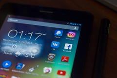 Ryazan, Russland - 21. März 2018 - bewegliche apps Ikonen von Facebook, von Instagram, von Paypal und von anderen auf Anzeige des Lizenzfreies Stockfoto
