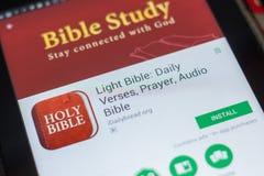 Ryazan, Russland - 16. Mai 2018: Bewegliche APP der hellen Bibel auf der Anzeige des Tablet-PCs Lizenzfreie Stockfotografie