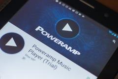Ryazan, Russland - 16. Mai 2018: Bewegliche APP des Poweramp-Musik-Spielers auf der Anzeige des Tablet-PCs Stockbild