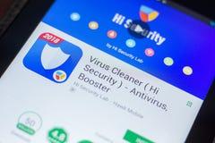 Ryazan, Russland - 16. Mai 2018: Bewegliche APP des Virus-Reinigers auf der Anzeige des Tablet-PCs Lizenzfreie Stockbilder