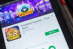 Ryazan, Russland - 16. Mai 2018: Bewegliche APP DoubleU-Kasinos auf der Anzeige des Tablet-PCs Stockfoto