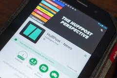 Ryazan, Russland - 16. Mai 2018: Bewegliche APP HuffPost-Nachrichten auf der Anzeige des Tablet-PCs Lizenzfreie Stockfotografie