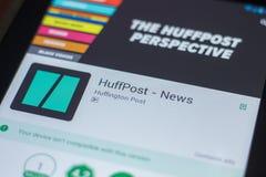 Ryazan, Russland - 16. Mai 2018: Bewegliche APP HuffPost-Nachrichten auf der Anzeige des Tablet-PCs Lizenzfreie Stockfotos