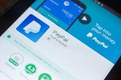 Ryazan, Russland - 16. Mai 2018: Bewegliche APP Paypals auf der Anzeige des Tablet-PCs Stockbild