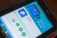 Ryazan, Russland - 16. Mai 2018: Bewegliche APP Paypals auf der Anzeige des Tablet-PCs Stockbilder