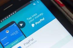 Ryazan, Russland - 16. Mai 2018: Bewegliche APP Paypals auf der Anzeige des Tablet-PCs Lizenzfreie Stockbilder