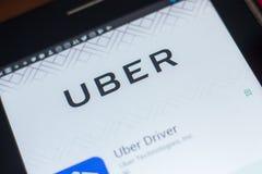 Ryazan, Russland - 16. Mai 2018: Bewegliche APP Uber-Fahrers auf der Anzeige des Tablet-PCs Lizenzfreie Stockfotos
