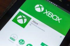 Ryazan, Russland - 16. Mai 2018: Bewegliche APP Xboxs auf der Anzeige des Tablet-PCs Lizenzfreie Stockbilder
