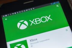 Ryazan, Russland - 16. Mai 2018: Bewegliche APP Xboxs auf der Anzeige des Tablet-PCs Lizenzfreie Stockfotografie
