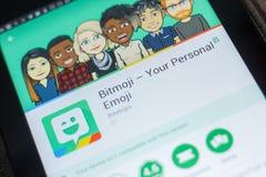 Ryazan, Russland - 16. Mai 2018: Bitmoji bewegliche APP auf der Anzeige des Tablet-PCs Lizenzfreie Stockfotografie