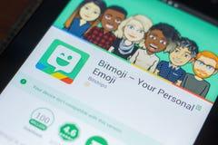 Ryazan, Russland - 16. Mai 2018: Bitmoji bewegliche APP auf der Anzeige des Tablet-PCs Stockfotos