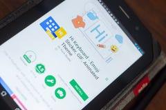 Ryazan, Russland - 16. Mai 2018: Hallo bewegliche APP der Tastatur auf der Anzeige des Tablet-PCs Lizenzfreies Stockbild