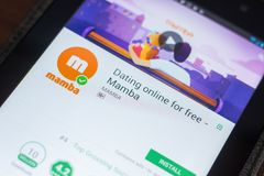 Ryazan, Russland - 16. Mai 2018: Mamba, das bewegliche APP auf der Anzeige des Tablet-PCs datiert Lizenzfreie Stockbilder