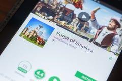 Ryazan, Russland - 16. Mai 2018: Schmiede beweglicher APP der Reiche auf der Anzeige des Tablet-PCs lizenzfreie stockbilder
