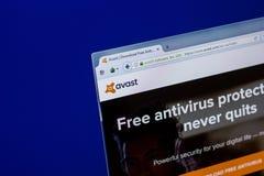 Ryazan Ryssland - April 16, 2018 - Homepage av Avast antivirus på skärmen av PC:N arkivfoton