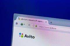 Ryazan Ryssland - April 16, 2018 - Homepage av den Avito websiten på skärmen av PC:N, url - avito ru Royaltyfri Bild