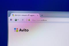 Ryazan Ryssland - April 16, 2018 - Homepage av den Avito websiten på skärmen av PC:N, url - avito ru Royaltyfria Bilder