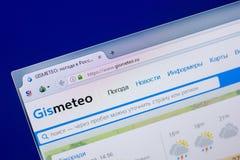 Ryazan Ryssland - April 16, 2018 - Homepage av den GisMeteo websiten på skärmen av PC:N, url - GisMeteo ru Royaltyfri Bild
