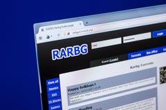 Ryazan Ryssland - April 29, 2018: Homepage av den Rarbg websiten på skärmen av PC:N, url - Rarbg Är Royaltyfria Foton