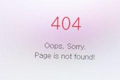 Ryazan Ryssland - April 29, 2018: Inte funnit fel 404 på websiten på skärmen av PC:N Arkivfoto