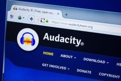 Ryazan Ryssland - Augusti 26, 2018: Homepage av den Audacityteam websiten på skärmen av PC:N Url - Audacityteam org arkivbilder