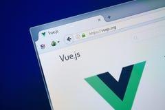 Ryazan Ryssland - Augusti 26, 2018: Homepage av den Vuejs websiten på skärmen av PC:N Url - Vuejs org arkivfoton