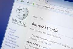 Ryazan Ryssland - Augusti 19, 2018: Wikipedia sida om Barnard Castle på skärmen av PC:N royaltyfri foto