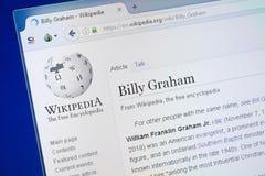 Ryazan Ryssland - Augusti 19, 2018: Wikipedia sida om Billy Graham på skärmen av PC:N arkivbild