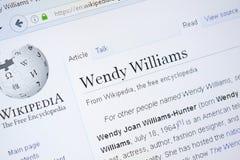 Ryazan Ryssland - Augusti 28, 2018: Wikipedia sida om Wendy Williams på skärmen av PC:N arkivfoto