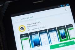 Ryazan Ryssland - Juli 03, 2018: Norton App Lock symbol i listan av mobila apps arkivbilder