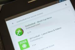 Ryazan Ryssland - Juli 03, 2018: Onefootball Live Soccer Scores symbol i listan av mobila apps royaltyfria bilder