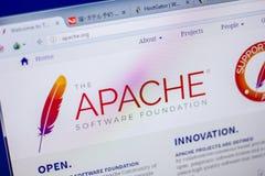 Ryazan Ryssland - Juni 05, 2018: Homepage av den Apache websiten på skärmen av PC:N, url - Apache org royaltyfri foto