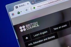Ryazan Ryssland - Juni 05, 2018: Homepage av den BritishCouncil websiten på skärmen av PC:N, url - BritishCouncil org fotografering för bildbyråer