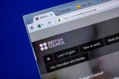 Ryazan Ryssland - Juni 05, 2018: Homepage av den BritishCouncil websiten på skärmen av PC:N, url - BritishCouncil org arkivfoton