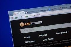 Ryazan Ryssland - Juni 05, 2018: Homepage av den JavFinder websiten på skärmen av PC:N, url - JavFinder Är Arkivbilder