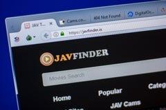 Ryazan Ryssland - Juni 05, 2018: Homepage av den JavFinder websiten på skärmen av PC:N, url - JavFinder Är Royaltyfri Bild