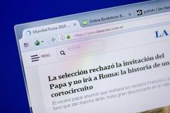 Ryazan Ryssland - Juni 05, 2018: Homepage av den LaNacion websiten på skärmen av PC:N, url - LaNacion com Ar Fotografering för Bildbyråer