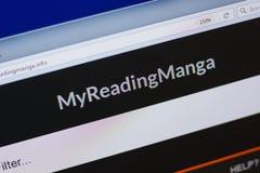 Ryazan Ryssland - Juni 16, 2018: Homepage av den MyReadingManga websiten på skärmen av PC:N, url - MyReadingManga info arkivbild