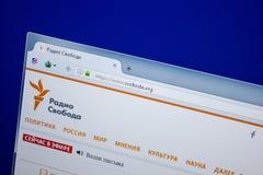 Ryazan Ryssland - Juni 26, 2018: Homepage av den Svoboda websiten på skärmen av PC:N URL - Svoboda org arkivbilder